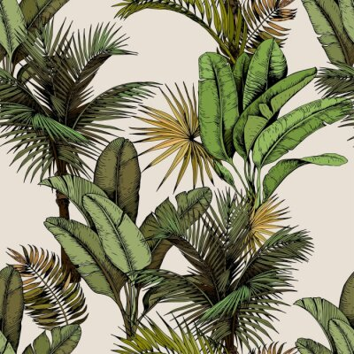 Vinilo Seamless pattern with green tropical palm and banana leaves. Hand drawn vector illustration on beige background.