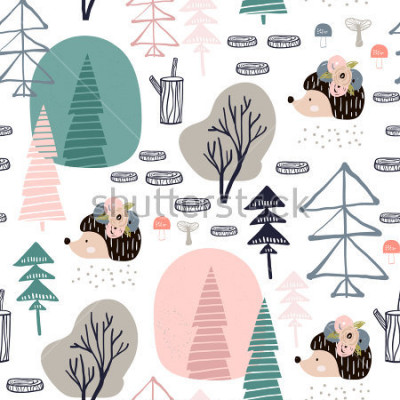 Vinilo Seamless pattern with hedgehog, forest elements. Creative woodland height detailed background. Perfect for kids apparel,fabric, textile, nursery decoration,wrapping paper.Vector Illustration