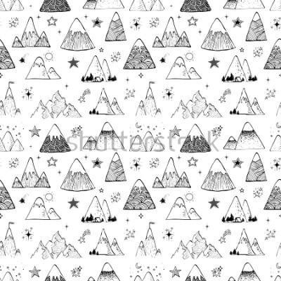 Vinilo Seamless pattern with mountains and stars. Can be used for wallpaper, pattern fills, textile, web page background, surface textures