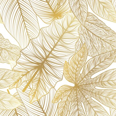 Vinilo Seamless pattern with tropical leaf palm . Vector illustration.