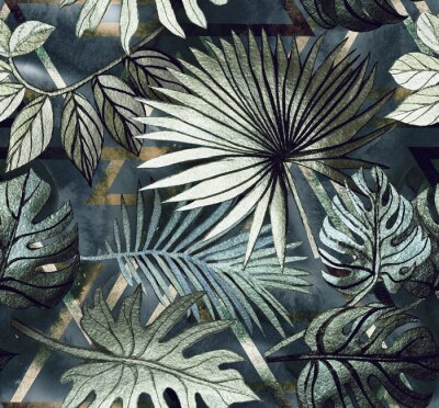 Vinilo Seamless pattern with tropical leaves and  geometric shapes. Tropical  background.