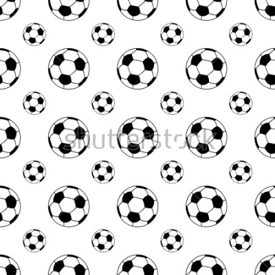 Vinilo Seamless patterns from a soccer ball. Black and white. Vector illustration.