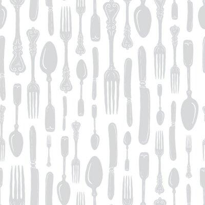 Vinilo Seamless Vintage Heirloom Silverware - Fork, Spoon, Knife - Vector Repeat Pattern in Subtle Gray on Light Background