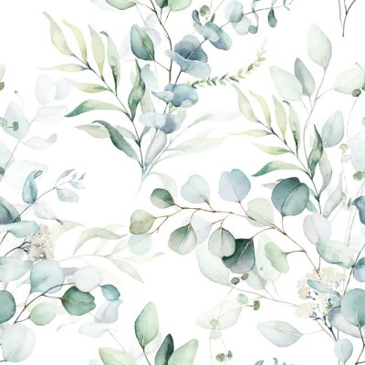 Vinilo Seamless watercolor floral pattern - green leaves and branches composition on white background, perfect for wrappers, wallpapers, postcards, greeting cards, wedding invitations, romantic events.