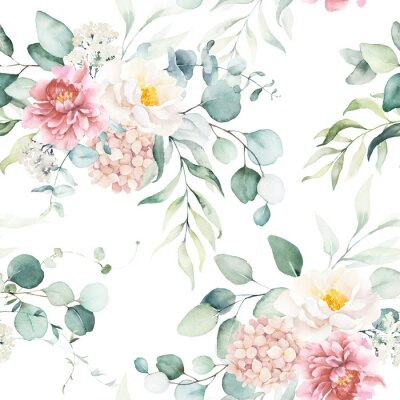 Vinilo Seamless watercolor floral pattern with pink & peach cream flowers, leaves composition on white background, perfect for wrappers, wallpapers, postcards, greeting cards, wedding invitations, events.