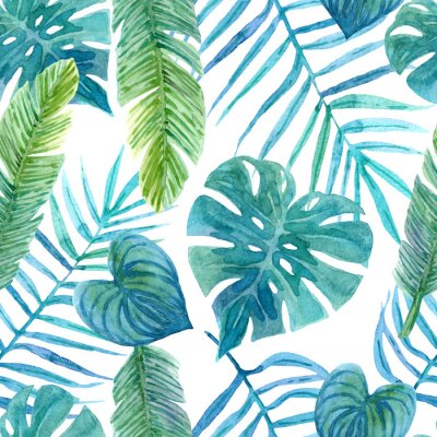 Vinilo Seamless watercolor pattern of tropical leaves
