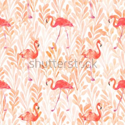 Vinilo Seamless watercolor pattern with a bird flamingo. Beautiful pink bird. Tropical flamingo.