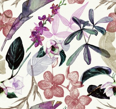 Vinilo Seamless watercolor pattern with tropical flowers, magnolia, orange flower, vanilla orchid, tropical leaves, banana leaves