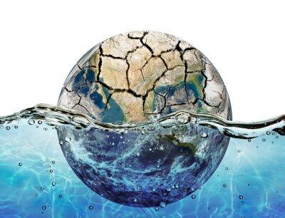 Vinilo Secado encima de planeta sumergido en las aguas del océano mundial