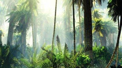 Vinilo Selva tropical en la niebla. Palmas por la mañana.
