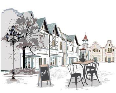 Vinilo Serie de cafés de la calle en la ciudad vieja