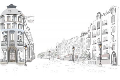 Vinilo Serie de vistas de la calle en la ciudad vieja. Fondo arquitectónico del vector dibujado a mano con edificios históricos.
