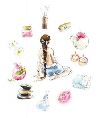 Vinilo Set for SPA salon. Watercolor hand drawn illustration.