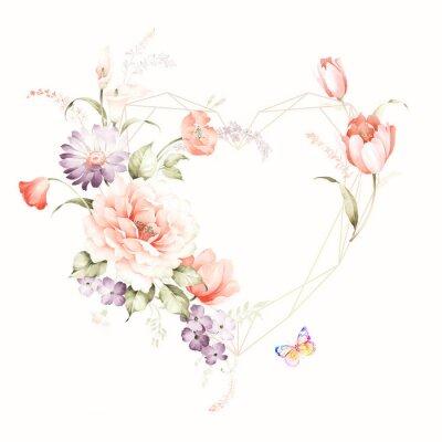 Vinilo Set of card with flower rose, leaves. Wedding ornament concept. Floral poster, invite. Decorative greeting card or invitation design background