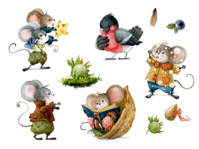 Vinilo Set of cute christmas mice in cartoon style. Watercolor christmas illustration