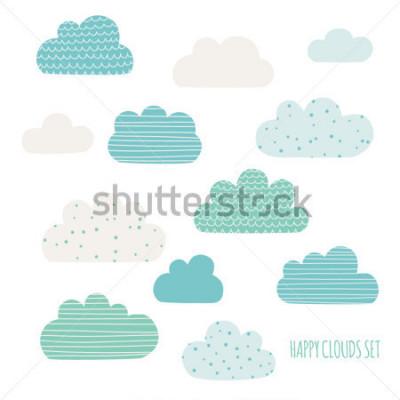 Vinilo Set of cute clouds. Design for kids. Vector illustration