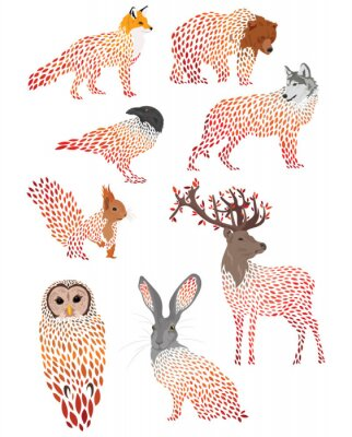 Vinilo Set of stylized animals. Collection of cartoon forest animals. Logos of wild animals. Illustration for children.