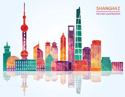 Vinilo Shanghai detallada skylines. Ilustración vectorial