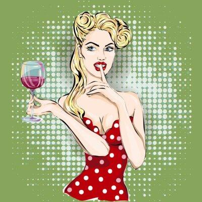 Vinilo Shhh pop art cara de mujer con el dedo en los labios y un vaso de vino