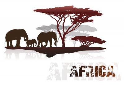 Vinilo Silueta de África árboles y elefantes