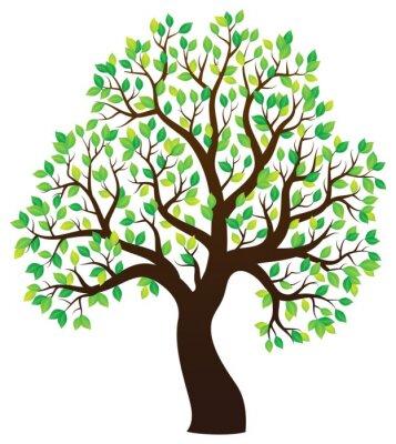 Vinilo Silueta de árbol frondoso tema 1