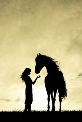 Vinilo Silueta de chica y caballo