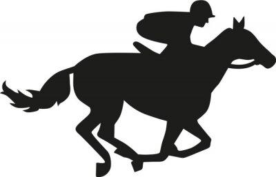 Vinilo Silueta de la carrera de caballos
