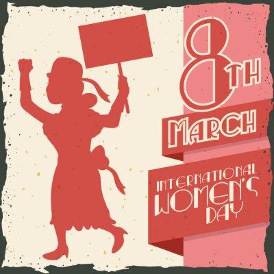 Vinilo Silueta de la mujer Marchando en el Día de la Mujer Retro Poster, IlVector Ilustración vectorial