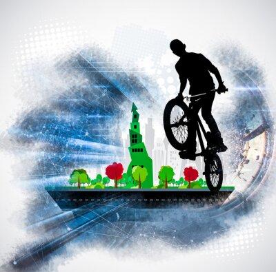 Vinilo Silueta de un ciclista