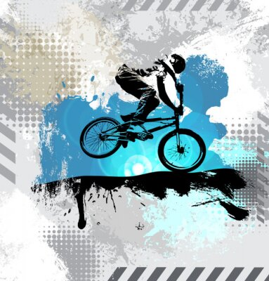 Vinilo Silueta de un ciclista, vector