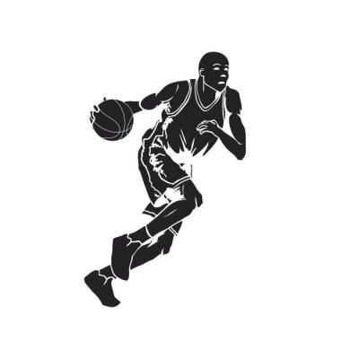 Vinilo Silueta de un jugador de baloncesto driblando la pelota