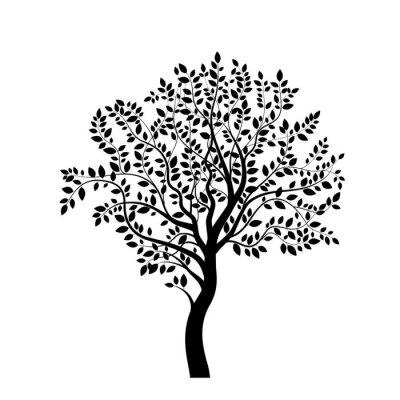 Vinilo Silueta del árbol negro aislado en blanco