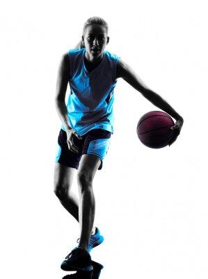 Vinilo Silueta del jugador de baloncesto de la mujer