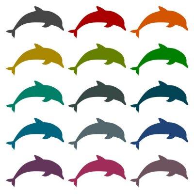 Vinilo Silueta, delfín, iconos, Conjunto