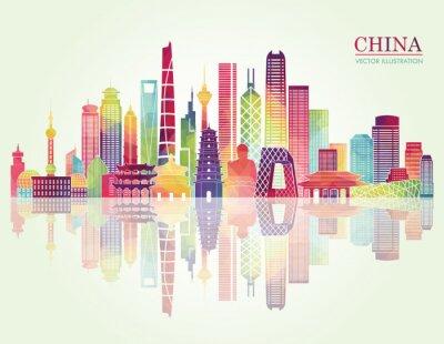 Vinilo Silueta detallada del horizonte de China. Ilustración del vector