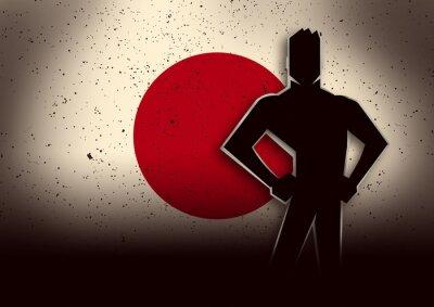 Vinilo Silueta, Ilustración, hombre, posición, frente, japón, bandera