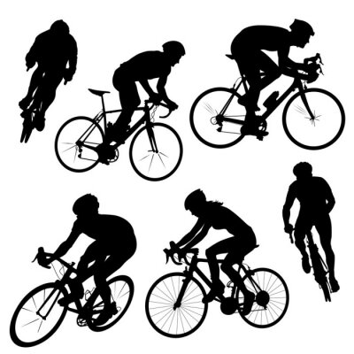 Vinilo siluetas de ciclismo