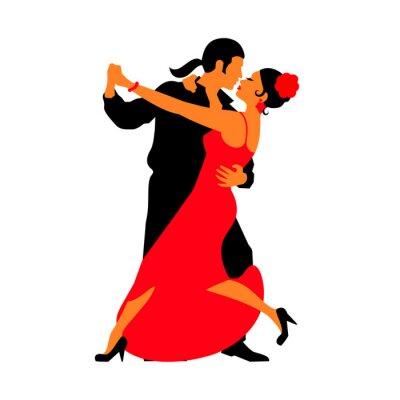 Vinilo Siluetas de las parejas de baile bailar bailes. Tango