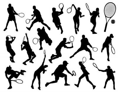 Vinilo Siluetas negras de tenista, vector
