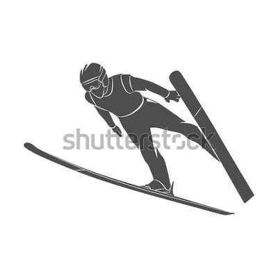 Vinilo Siluetee al esquiador de salto en un fondo blanco. Ilustración de la foto.