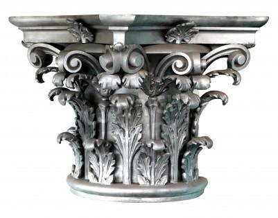 Vinilo Silver Corinthian order columns on the white background
