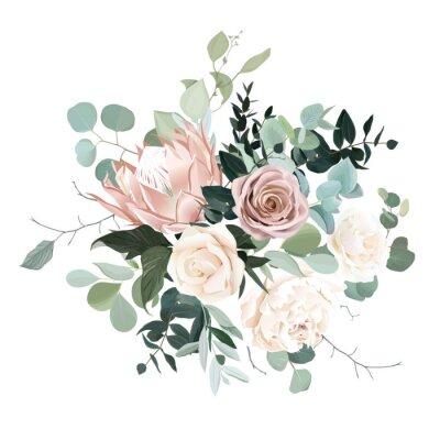 Vinilo Silver sage and blush pink flowers vector design bouquet.