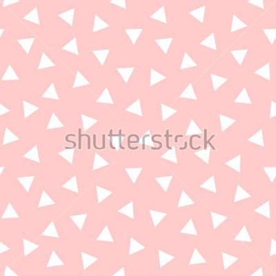 Vinilo Simple Triangle Seamless Pattern with Pink Background, Vector illustration