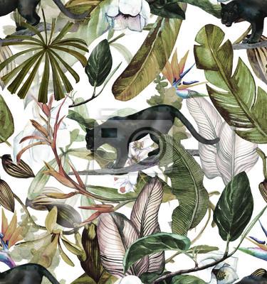 Vinilo Sin fisuras patrón de acuarela con flores tropicales, magnolia, flor de naranja, orquídea vainilla, hojas tropicales, hojas de plátano, pantera