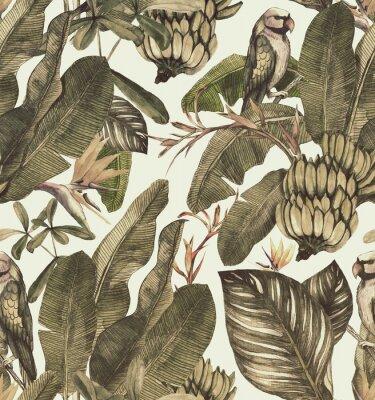 Vinilo Sin fisuras patrón de acuarela con hibisco, hojas de palma, rama de strelitzia, calathea. Fondo de época tropical