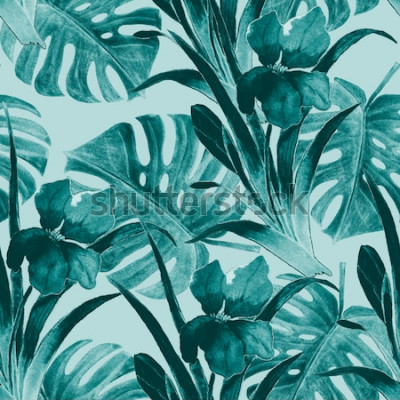 Vinilo Sin fisuras patrón tropical con flores de iris y hojas exóticas. Acuarela. Pintura a mano.