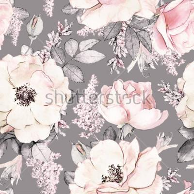 Vinilo Sin patrón, con flores rosadas y hojas sobre fondo gris, estampado de flores de acuarela, flor rosa en colores pastel, enlosables para papel tapiz, tarjeta o tela
