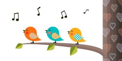 Vinilo Singing Birds on a branch.