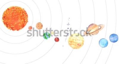 Vinilo Sistema solar de acuarela. Sol y planetas (Mercurio, Venus, Tierra, Marte, Júpiter, Saturno, Urano, Neptuno) sobre fondo blanco.