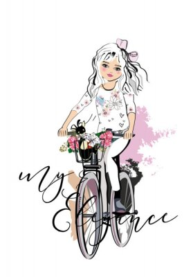 Vinilo Sketch of a cute fashion girl with a dog riding the bicycle. Hand drawn vector illustration.